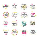 Happy Mothers Day Hand Drawn Lettering Collection For Greeting Card Isolated On White Background Royalty Free Stock Photography