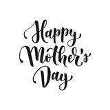 Happy mothers day hand drawn lettering for greeting card or banner. Black brush calligraphy vector illustration isolated. On white background stock illustration