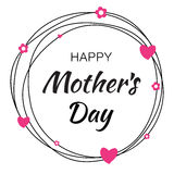 Happy Mothers Day hand drawn typographic lettering with scribble circle on white background royalty free illustration