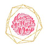 Happy Mothers day hand lettering text in gold geometric frame. Vector illustration. Good for greeting card, poster or royalty free illustration