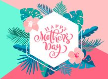 Happy Mothers day hand lettering text heart with beautiful flowers. Vector illustration greeting card. Good for greeting vector illustration