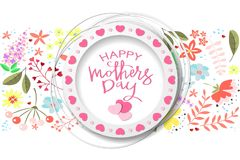 Happy Mothers day handdrawn card stock illustration