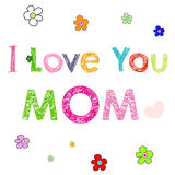 Happy mothers day handwritten card Royalty Free Stock Images