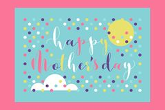 Happy Mothers Day handwritten lettering and sun with cloud vector illustration