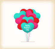 Happy mothers day with heart balloons Royalty Free Stock Photography
