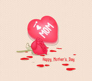 Happy mothers day with heart and flowers Stock Photos