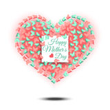 Happy Mothers Day. Heart shaped design. Royalty Free Stock Image