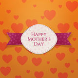 Happy Mothers Day Holiday festive Sign. White Banner and purple Ribbon on orange Background with big Hearts. Vector Illustration Stock Photography