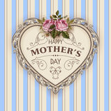 Happy Mothers Day. Holiday Festive Vector Illustration. With Lettering And Vintage Ornate heart. Mothers day greeting card with retro styled roses. Shabby chic Stock Photos