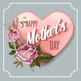 Happy Mothers Day. Holiday Festive Vector Illustration on polka dot background Stock Images