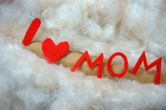 Happy mothers day, i love you mom. Message, idea from colorful fiber letter, red heart on white cotton background, abstract concept, mother's day is special day royalty free stock photos