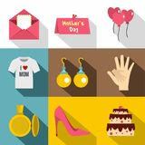 Happy Mothers Day Icon Set, Flat Style Royalty Free Stock Photos