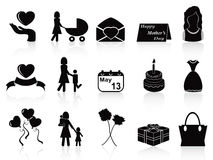 Happy mothers day icons set Royalty Free Stock Image