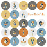 Happy Mothers Day Icons Stock Photography
