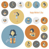 Happy Mothers Day Icons Stock Image