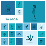 Happy Mothers Day Icons Royalty Free Stock Photography