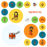 Happy Mothers Day Icons Stock Images