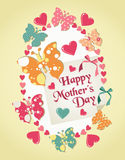 Happy Mothers Day illustration. Happy Mothers Day greeting card with heart and butterflies background. Vector file layered for easy manipulation and custom Stock Photos