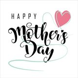 Happy Mothers day. An illustration of the text 'Happy Mother's Day' with a heart stock illustration