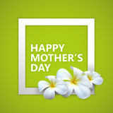 Happy Mothers Day label with white square frame and flowers Royalty Free Stock Photography