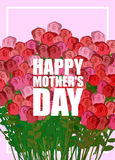 Happy Mothers Day. Large bouquet of red roses. Many colors for h Royalty Free Stock Photography