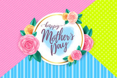 Happy mothers day layout design with roses. Lettering, ribbon,frame and flowers background.Vector illusion of  Best mom, mum ever flyer and card Royalty Free Stock Images