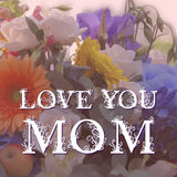 Happy Mothers Day lettering on blurry floral. Background. Vector illustration vector illustration