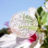 Happy Mothers Day lettering on blurry floral Stock Photo
