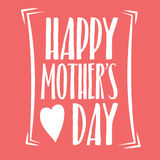 Happy Mothers Day Lettering Calligraphic Emblem . Vector Design Element For Greeting Card and Other Print Templates. Inscription f. Mothers Day Lettering Royalty Free Stock Image