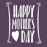 Happy Mothers Day Lettering Calligraphic Emblem . Vector Design Element For Greeting Card and Other Print Templates. Inscription f. Mothers Day Lettering Stock Photo