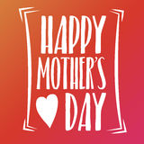 Happy Mothers Day Lettering Calligraphic Emblem . Vector Design Element For Greeting Card and Other Print Templates. Inscription f. Mothers Day Lettering Stock Image