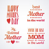 Happy Mothers Day Lettering Calligraphic Emblems and Badges Set. Vector Design Elements For Greeting Card and Other Print Template. Mothers Day Lettering Stock Photos