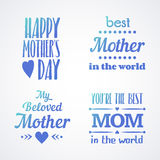 Happy Mothers Day Lettering Calligraphic Emblems and Badges Set. Vector Design Elements For Greeting Card and Other Print Template. Mothers Day Lettering stock illustration