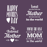 Happy Mothers Day Lettering Calligraphic Emblems and Badges Set. Vector Design Elements For Greeting Card and Other Print Template. Mothers Day Lettering vector illustration