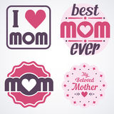 Happy Mothers Day Lettering Calligraphic Emblems and Badges Set. Vector Design Elements For Greeting Card and Other Print Template. Mothers Day Lettering Stock Photography