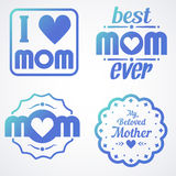 Happy Mothers Day Lettering Calligraphic Emblems and Badges Set. Vector Design Elements For Greeting Card and Other Print Template. Mothers Day Lettering Stock Photo
