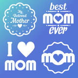 Happy Mothers Day Lettering Calligraphic Emblems and Badges Set. Vector Design Elements For Greeting Card and Other Print Template. Mothers Day Lettering Stock Images