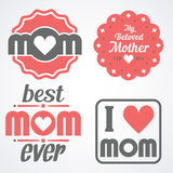Happy Mothers Day Lettering Calligraphic Emblems and Badges Set. Vector Design Elements For Greeting Card and Other Print Template. Mothers Day Lettering Royalty Free Stock Images