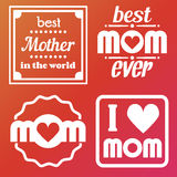 Happy Mothers Day Lettering Calligraphic Emblems and Badges Set. Vector Design Elements For Greeting Card and Other Print Template. Mothers Day Lettering Stock Image