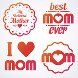 Happy Mothers Day Lettering Calligraphic Emblems and Badges Set. Vector Design Elements For Greeting Card and Other Print Template. Mothers Day Lettering Royalty Free Stock Photography