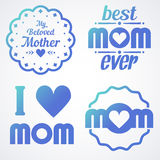 Happy Mothers Day Lettering Calligraphic Emblems and Badges Set. Vector Design Elements For Greeting Card and Other Print Template. Mothers Day Lettering Royalty Free Stock Photo