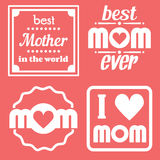 Happy Mothers Day Lettering Calligraphic Emblems and Badges Set. Vector Design Elements For Greeting Card and Other Print Template. Mothers Day Lettering Royalty Free Stock Photos