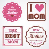 Happy Mothers Day Lettering Calligraphic Emblems and Badges Set. Vector Design Elements For Greeting Card and Other Print Template Royalty Free Stock Photography