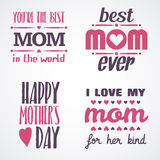 Happy Mothers Day Lettering Calligraphic Emblems and Badges Set. Vector Design Elements For Greeting Card and Other Print Template Stock Photography