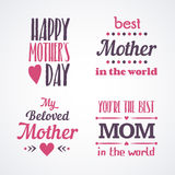 Happy Mothers Day Lettering Calligraphic Emblems and Badges Set. Vector Design Elements For Greeting Card and Other Print Template Royalty Free Stock Photos