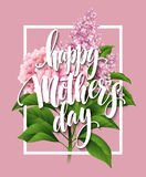 Happy Mothers Day Lettering card. Greetimng card with flower. Vector illustration Stock Photos