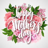Happy Mothers Day Lettering card. Greetimng card with flower. Vector illustration Royalty Free Stock Photo