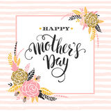 Happy Mothers Day lettering greeting card with Flowers. Stock Photography