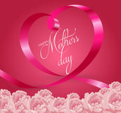 Happy Mothers Day Lettering with Heart Ribbon Stock Photo