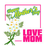 Happy Mothers Day lettering. Mothers day greeting card with Flowers Stock Images
